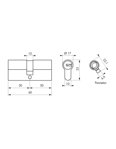 Cylindre de Serrure 30 x 30 mm - TRANSIT 2 00018759