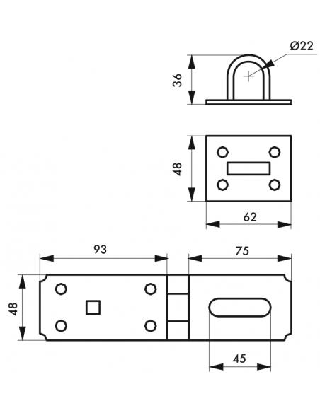 PORTE-CADENAS renforcé 90 mm 00901970