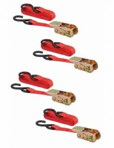 Set de 4 sangles à cliquet 25mm x 4,50m crochet S - rouge 00290611