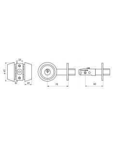 VERROU double entrée doré 3 clés 70 - axe réglable 60/70mm 00501517