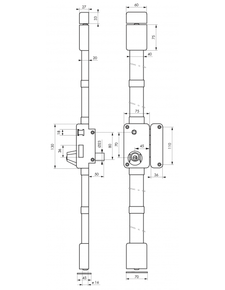 Serrure en applique BELUGA blanche CR HG5 à fouillot 75 x 130 drte 4 clés 00079511