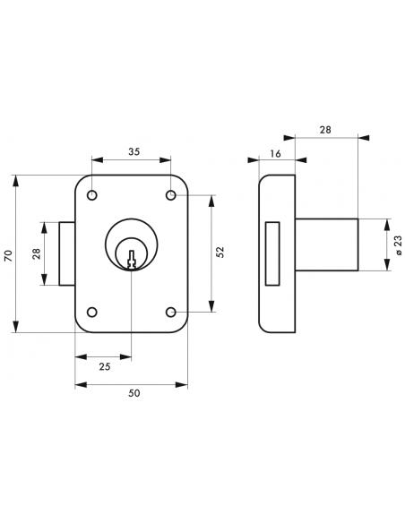 Serrure de meuble de sûreté 50 mm axe 25 mm gche 00014751
