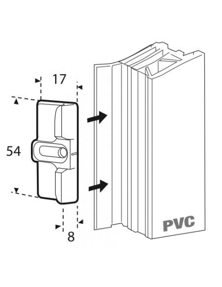 Gâche galet latéral Compatible avec les Serrure à encastrers : Crémone PE - FENSTER - UNIJET  Dimensions : 54 x 17 mm REF FER...