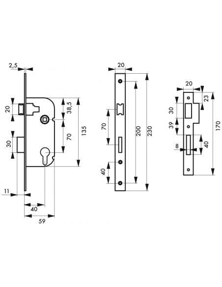 Serrure à encastrer V/BC 3 clés 00000104