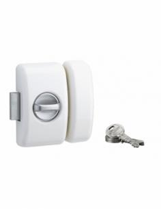 Verrou de porte d'entrée UNIVERSEL 5 goup. 45 mm blanc 3 clés 00090547