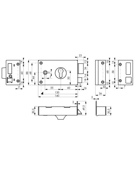 BOITIER CP à fouillot 140 x 88 mm droite 00085110