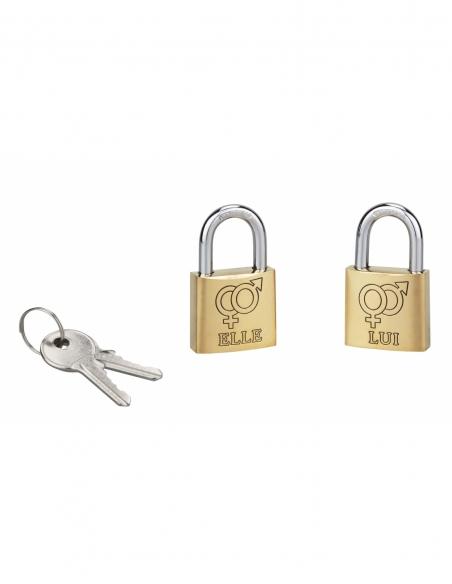 Lot de 2 cadenas 30 mm laiton poli LOVE 2 (elle / lui) 00109602