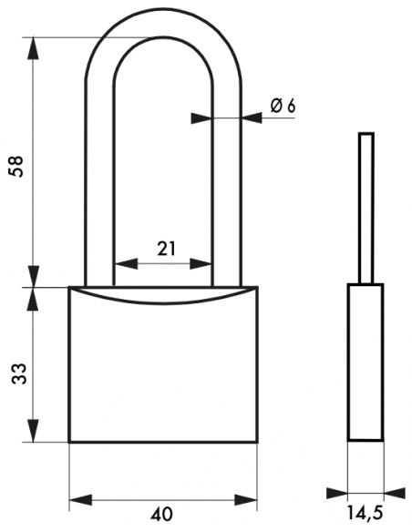 Cadenas Type 1 • 40 mm Cadenas Anse 1/2 haute 58 mm 00080640