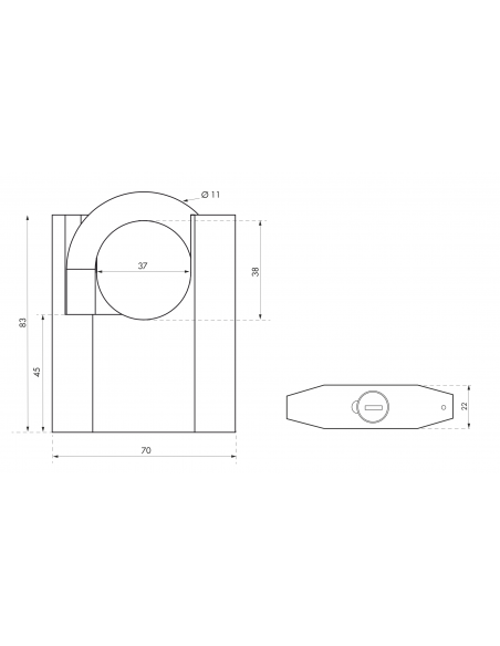 Cadenas octo-p 70mm anse protégée acier 3 clés 00090059