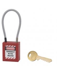 Cadenas de Consignation 40 mm câble inox gainé Ø 4,76 X 150mm - 1 clé ROUGE 005715RD