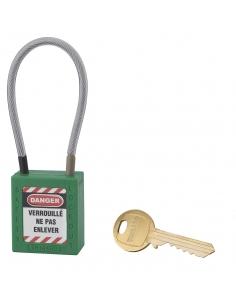 Cadenas de Consignation 40 mm câble inox gainé Ø 4,76 X 150mm - 1 clé VERT 005715GN