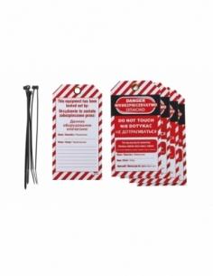 """Lot de 5 étiquettes """"Danger - Ne pas toucher"""" en polypropylène PP langue GB/PL/RU 00091343"""