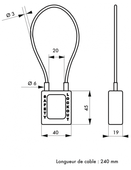 Cadenas de Consignation 40 mm câble acier Ø 3 X 240 mm - 1 clé 00091355