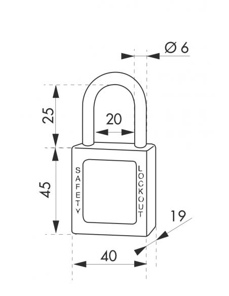 Cadenas de Consignation 40 mm anse acier Ø 6 X 25 mm ROUGE 00091170