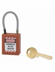Cadenas de Consignation 40 mm câble inox gainé Ø 4,76 X 90mm - 1 clé ORANGE 005790OR