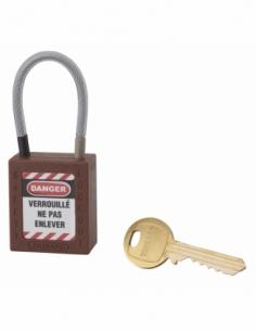 Cadenas de Consignation 40 mm câble inox gainé Ø 4,76 X 90mm - 1 clé MARRON 005790BN
