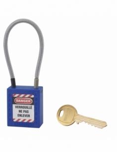 Cadenas de Consignation 40 mm câble inox gainé Ø 4,76 X 150mm - 1 clé BLEU 005715BL