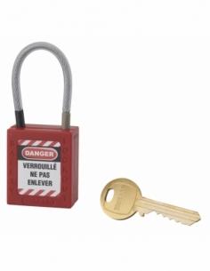 Cadenas de Consignation 40 mm câble inox gainé Ø 4,76 X 90mm - 1 clé ROUGE 005790RD