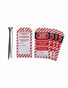 """Lot de 5 étiquettes """"Danger - Ne pas toucher"""" en polypropylène PP langue FR/GB/ES 00091337"""