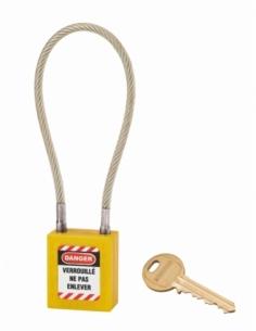 Cadenas de Consignation 40 mm câble inox gainé Ø 6 X 240 mm - 1 clé JAUNE 005624YL