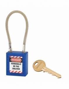 Cadenas de Consignation 40 mm câble inox gainé Ø 6 X 150mm - 1 clé BLEU 005615BL