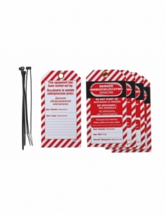 """Lot de 5 étiquettes """"Danger - Ne pas mettre en marche en cours d'entretien"""" en polypropylène PP langue GB/PL/RU 00091345"""