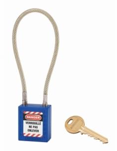Cadenas de Consignation 40 mm câble inox gainé Ø 6 X 240 mm - 1 clé BLEU 005624BL