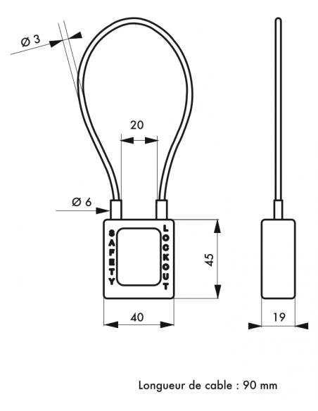 Cadenas de Consignation 40 mm câble acier Ø 3 X 90- 1 clé 00091356