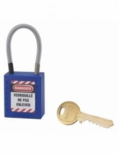 Cadenas de Consignation 40 mm câble inox gainé Ø 4,76 X 90mm - 1 clé BLEU 005790BL
