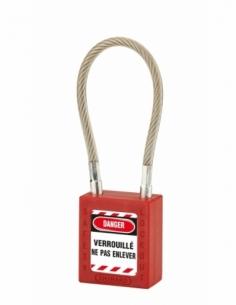 Cadenas de Consignation 40 mm câble inox gainé Ø 6 X 150mm - 1 clé ROUGE 005615RD