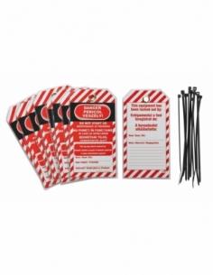 """Lot de 10 étiquettes """"Danger - Ne pas mettre en marche en cours d'entretien"""" langue GB/RO/HU 00091333"""