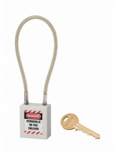 Cadenas de Consignation 40 mm câble inox gainé Ø 6 X 240 mm - 1 clé BLANC 005624WT