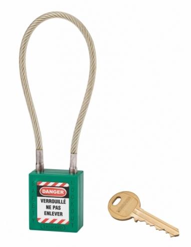 Cadenas de Consignation 40 mm câble inox gainé Ø 6 X 240 mm - 1 clé VERT 005624GN