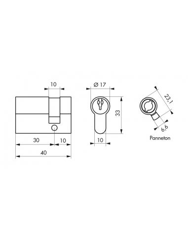 CYLINDRE PROFILE ECO 50 x 10 mm laiton