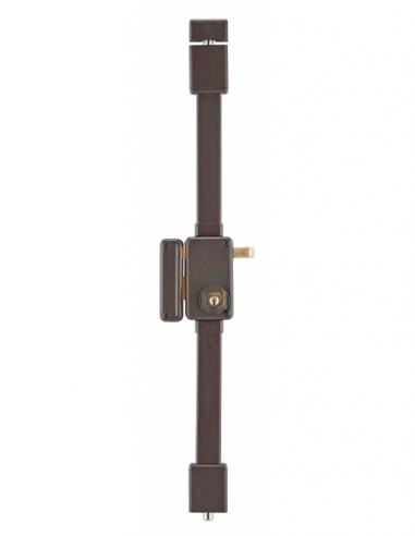 Serrure en applique BELUGA marron CR HG5 à tirage 75 x 130 gche 4 clés 00079420