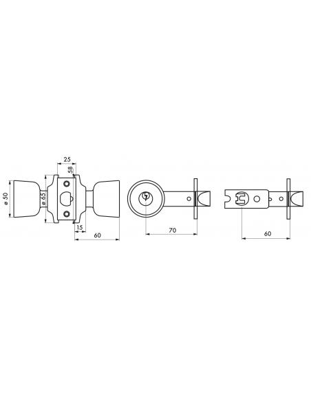 Serrure en applique double entrée doré 3 clés axe réglable 60/70 mm 00501567