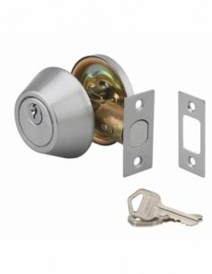 VERROU bouton et cylindre chromé mat 3 clés-axe réglable 60/70mm 00500516