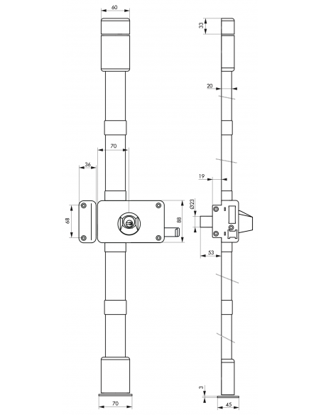 Serrure en applique HORGA marron CR HG5 à tirage 140 x 88 mm gche 4 clés 00037325