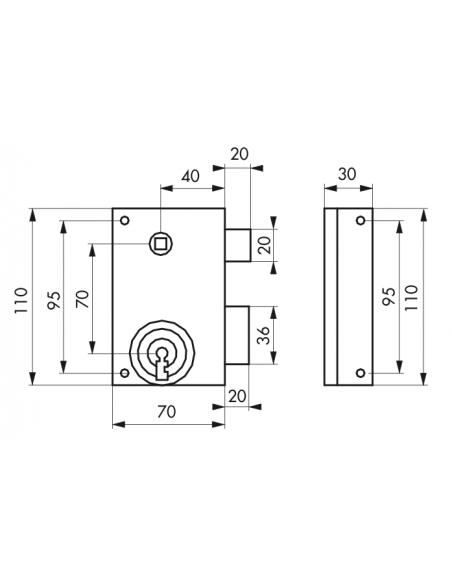 Serrure en applique PDT 1/2 tour zinguée 70 x 110 mm D 00000130