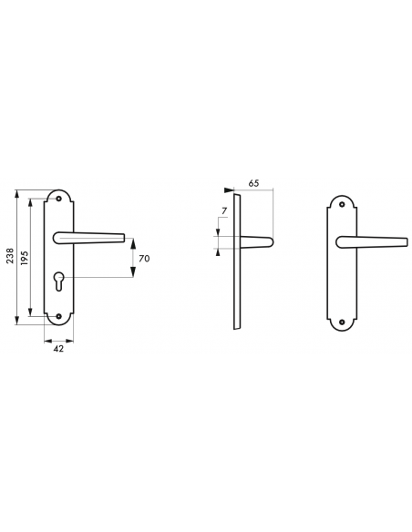 Poignée de porte intérieure CHARON trou de cylindre acier rouillé 00543383