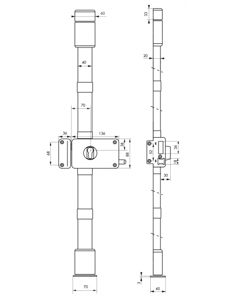 BOITIER DE Serrure en applique HORGA blanc à tirage 140 x 88 mm gauche 00048325