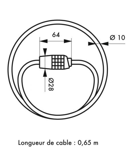 Antivol Câble Ø 10 long. 0,65 m à combinaison modifiable 00391007
