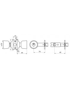 Serrure en applique bec de cane à condamnation chromé mat - axe réglable 60/70mm 00500553