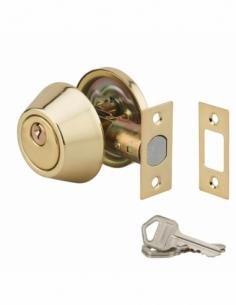 VERROU bouton et cylindre doré 3 clés - axe réglable 60/70mm 00501516