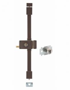 Serrure en applique HORGA marron CP TRANSIT 2 à tirage 88 x 140 mm gche 4 clés pour porte de 45 mm maxi 00065025