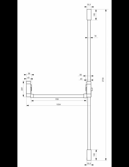 Serrure en applique ANTIPANIQUE 3 points haut et bas réversible laqué noir porte maxi 1150 mm 00009661
