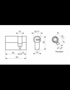 Cylindre de Serrure 55 x 10 mm - TRANSIT 2 00018806
