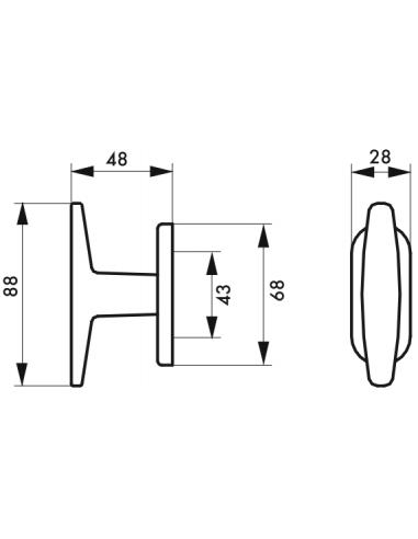 Bouton entreb/âilleur fen/être f2 avec vis de pose pour fen/être Thirard
