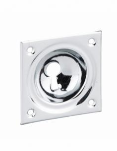 ENTREE à cuvette laiton chromé 60 x 60 mm pour Serrure en applique trou de clé 00141263