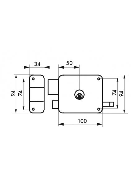 Serrure en applique à DC à tirage 100 x 94 mm gauche 00094333